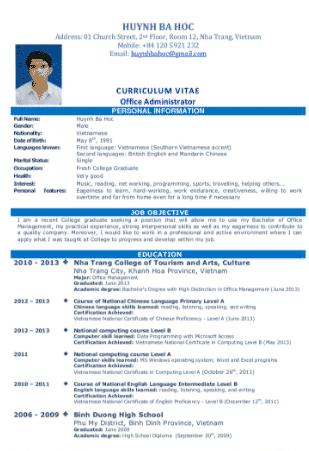 Contoh CV Fresh Graduate