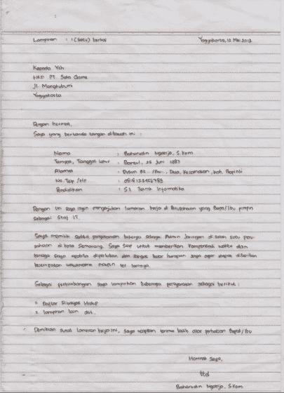 contoh cv tulis tangan