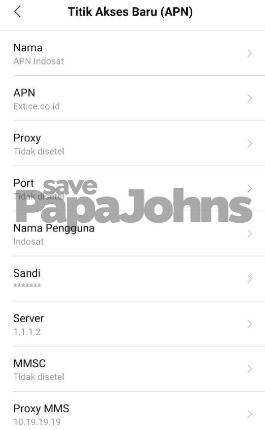 Setting APN Provider Indosat